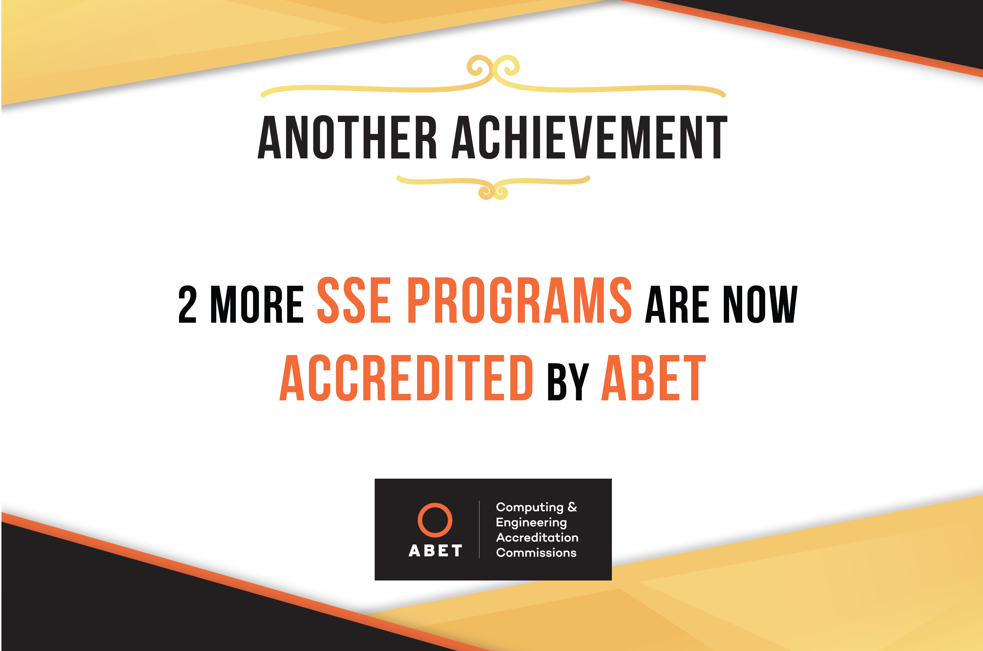 Two more SSE Programs Accredited by ABET
